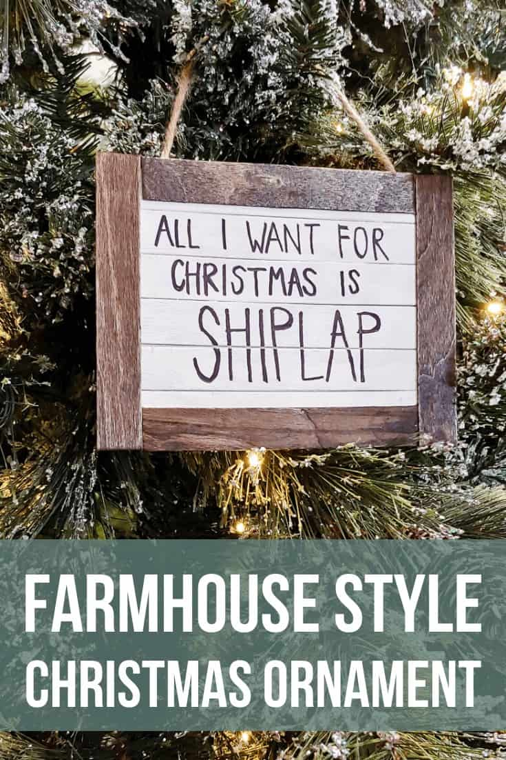 Handmade Christmas ornament hanging on the Chrsitmas tree with text overlay that says Farmhouse Style Christmas Ornament