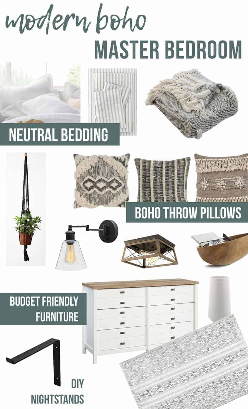 Collage of neutral bedding sheets, boho throw pillows, budget friendly furnitures and DIY nightstand with text overlay that says Modern Boho Master Bedroom