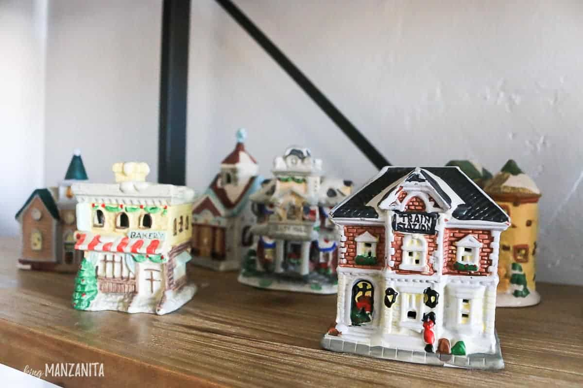 Different Christmas buildings and houses for the Christmas Village before painting with white spray paint