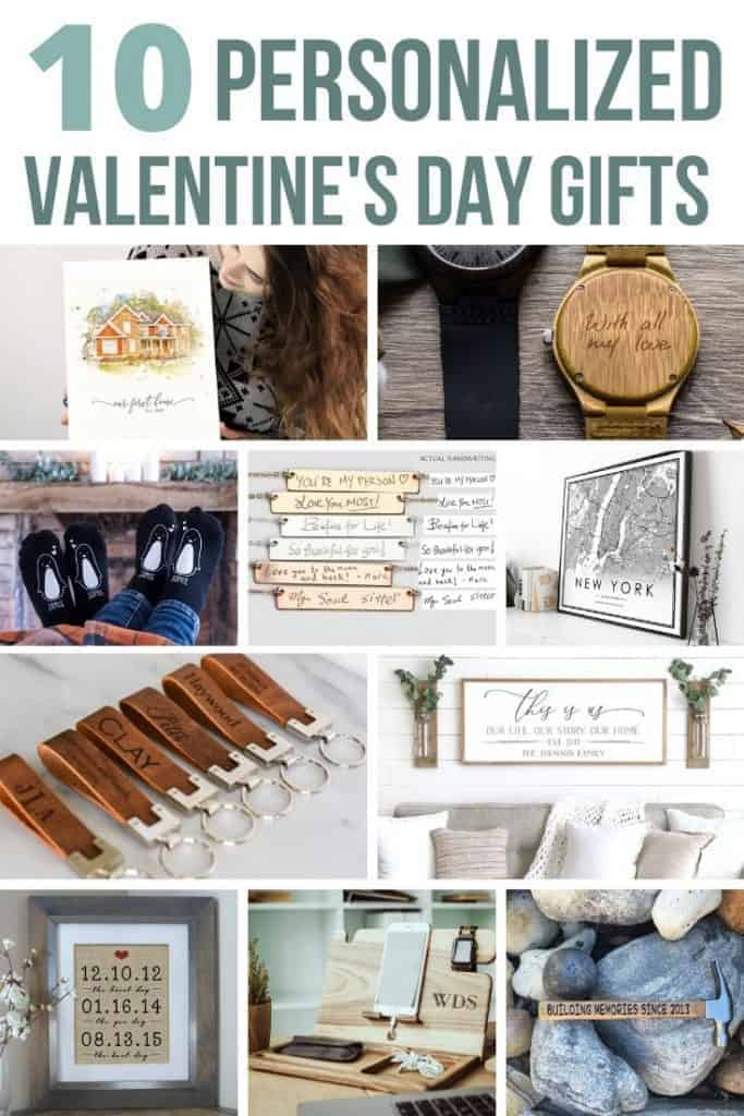 Collage of water color house art, wood watch, penguin socks, handwriting engraved personalized necklace, black and white modern map print, distressed leather keychain with personalization, this is us family name sign with farmhouse style, framed dates with burlap, wooden docking station for phone and customized hammer with text overlay that says 10 personalized valentine's day gifts