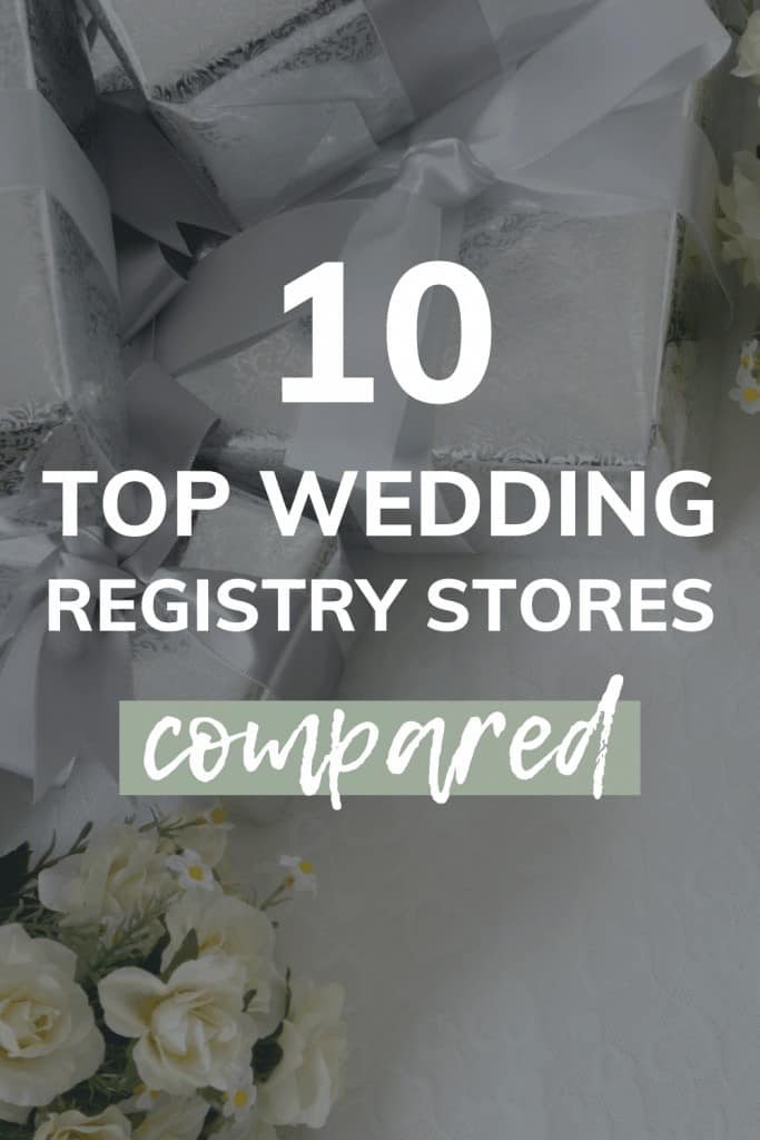 Flowers and gifts on white table with text overlay that says 10 top wedding registry stores compared