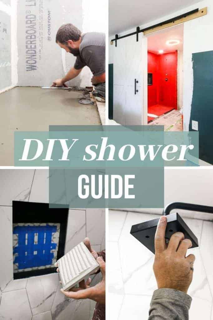 "it is a compilation of four different parts of installing a shower that includes putting in a shower head, putting in tile, and grouting. There is a before photo of the shower with red guard. Has over laying text "" DIY shower guide """