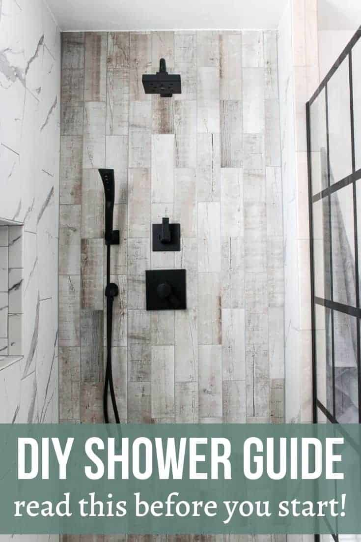 Beige rectangle tile with black shower head and panel windows. Texts says DIY Shower Guide (read this before you start)