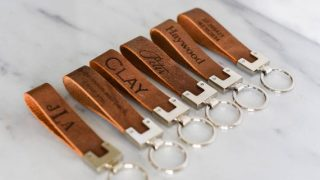 Personalized Engraved Distressed Leather Keychain