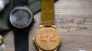 Personalized Engraved Handwriting Wood Watch