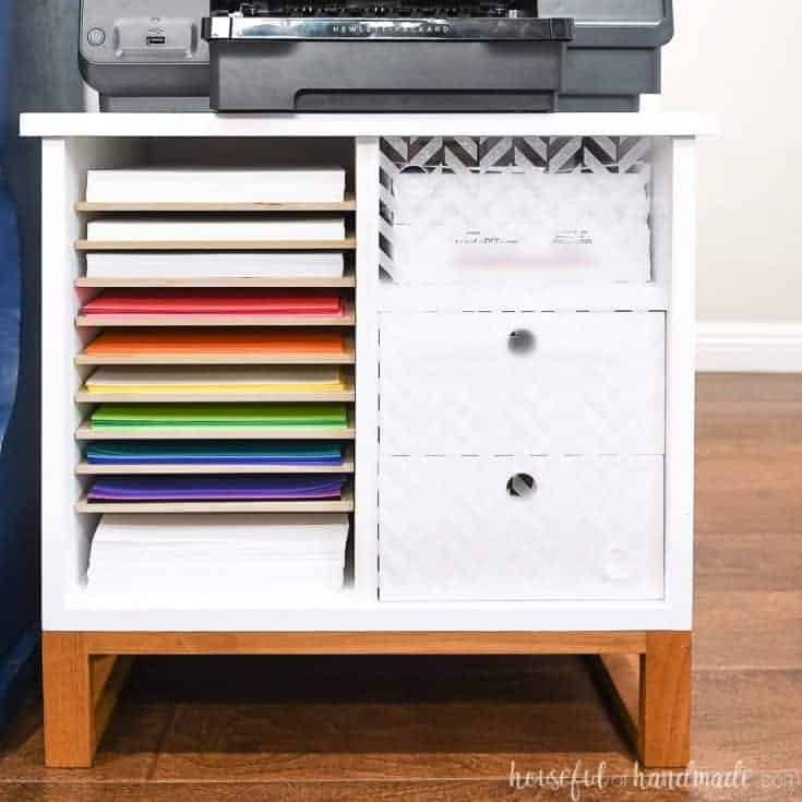 Printer Stand with Paper Storage & Drawers