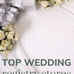 Shows a white table cloth with sliver presents and white roses in top left corner and says top wedding registry stores compared