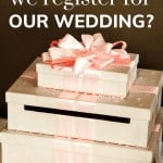 Shows pink present boxed stacked on each other and on top says where should we register for our wedding
