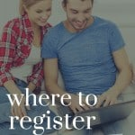 Shows a young couple sitting down looking at a laptop with text overlay that says where to register for your wedding
