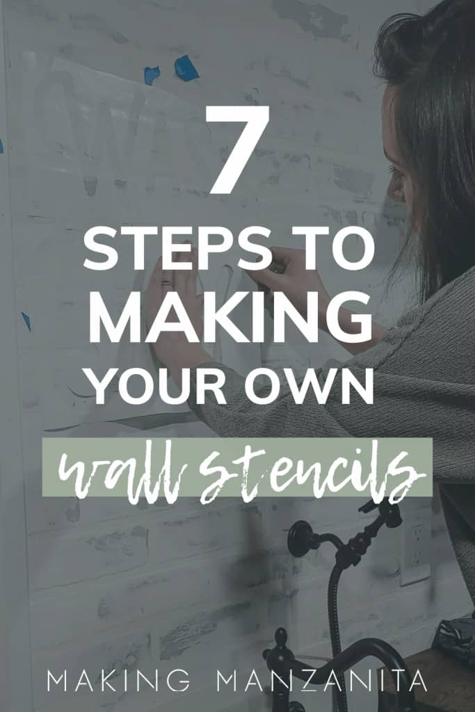 A person sticking wall stencils to a white wall with text saying 7 steps to making your own wall stencils