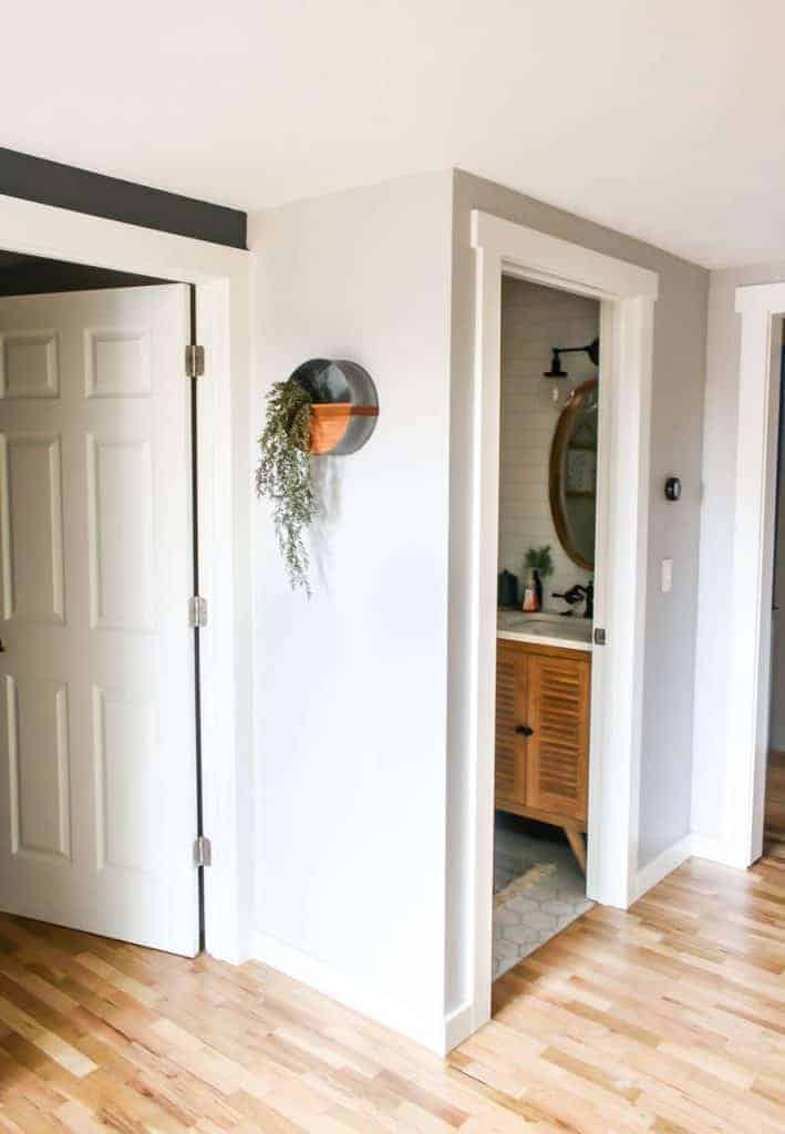 from a different angle, there is a metal wall planter on a white wall with green vines hanging out of it in a hallway with hardwood floors and an open door showing bathroom in background