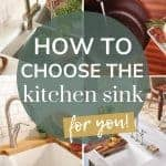 shows 4 modern kitchen sinks with overlay texts that says how to choose the kitchen sink for you