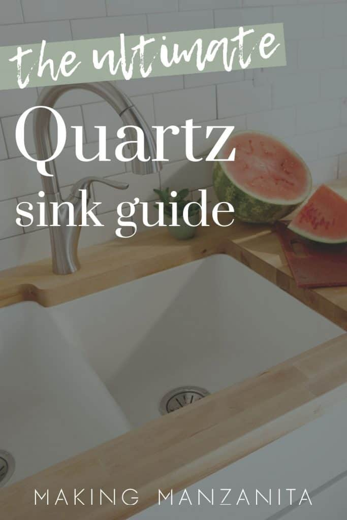 shows a modern sink with white tile backsplash and wood counter top and has metal faucet and watermelon next to it with overlay texts that says the ultimate quartz sink guide