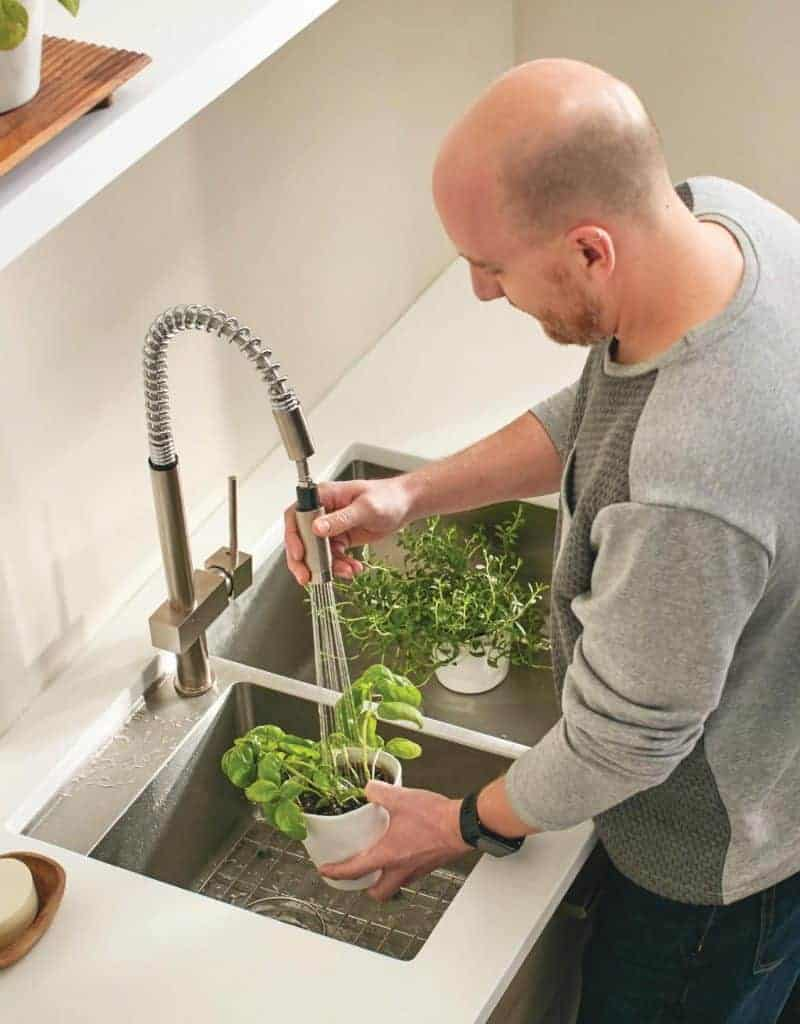 Shows man watering plans in a stainless steel kitchen sink
