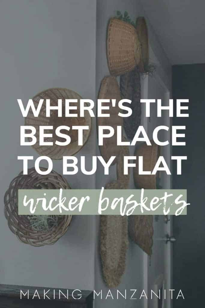 Shows boho wicker baskets hanging on a white wall and says where's the best place to buy flat wicker baskets