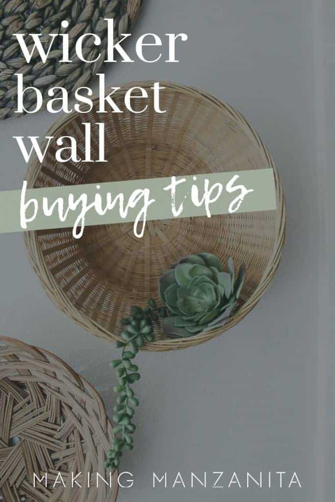 Shows a white wall with various kinds of flat wicker baskets that says wicker basket wall buying tips