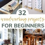 Shows 4 different pictures of wood projects with overlay text that says 32 woodworking projects for beginners