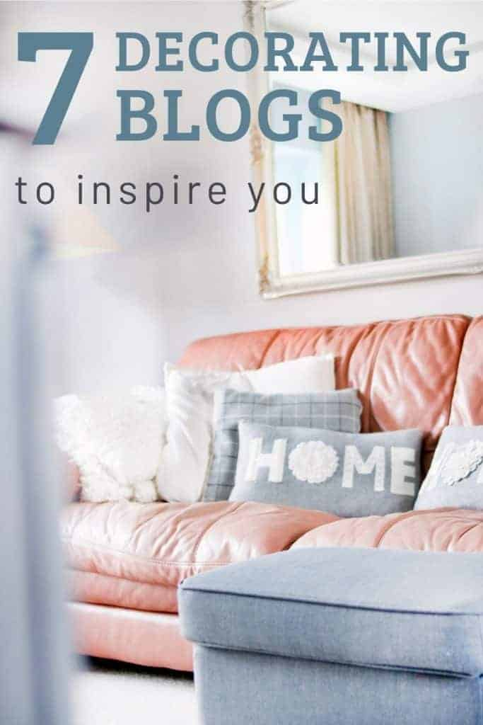 shows an orange couch with white and gray pillows that say home on it with a gray foot stool in a white room with big mirror with overlay text that says 7 decorating blogs to inspire you