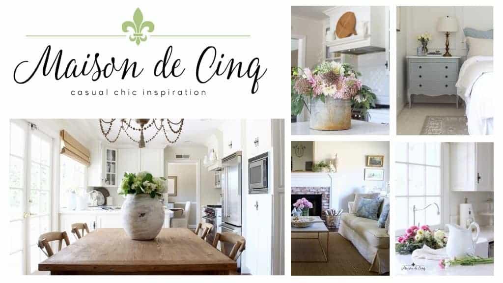 shows various modern farmhouse home decor looks from maison de cinq