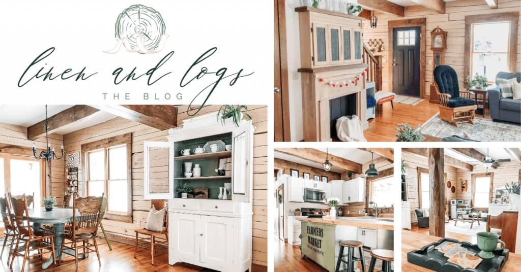 shows various pictures of a rustic wood home decor look from linen and log blog