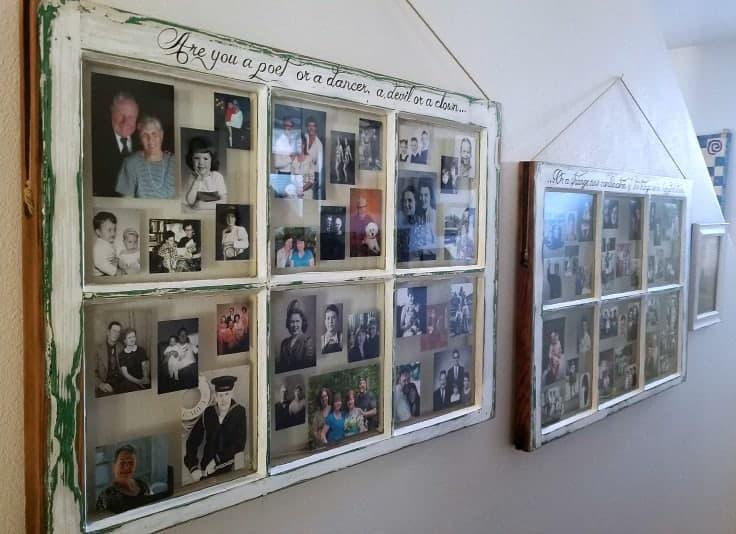 Family Photo Display In Vintage Windows