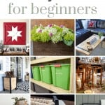 Shows 9 different wood working projects with text at top that says woodworking projects for beginners