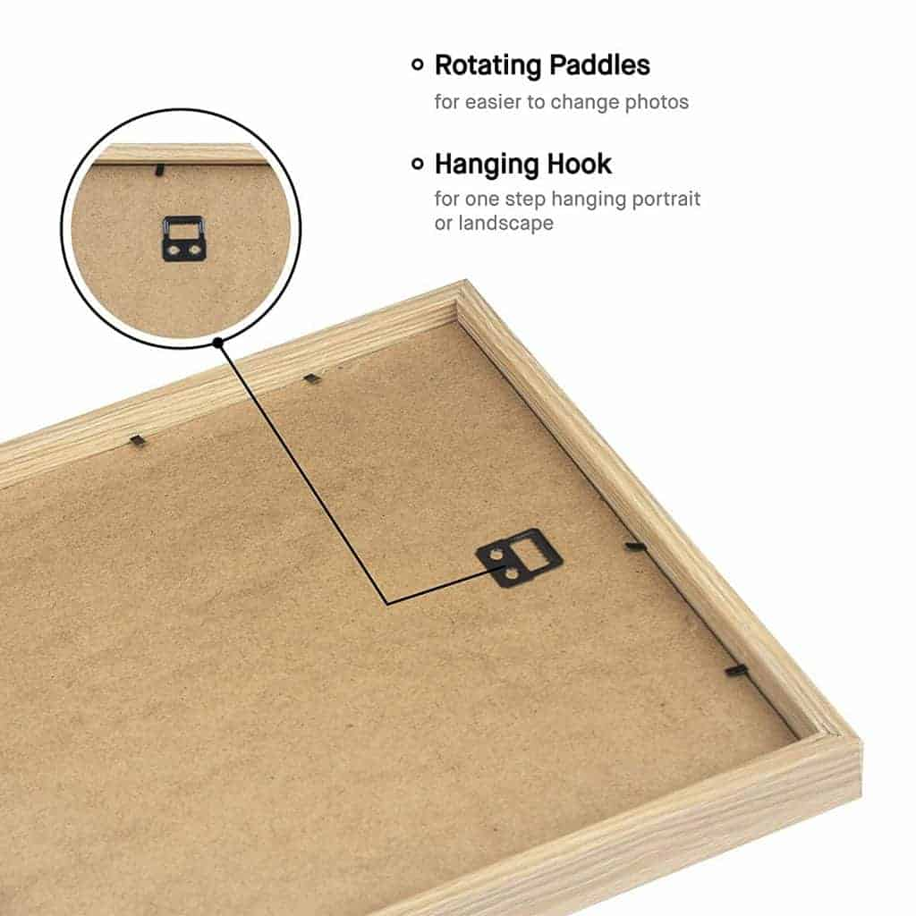 Rotating paddles and picture hooks are the easiest way to hang wood picture frames