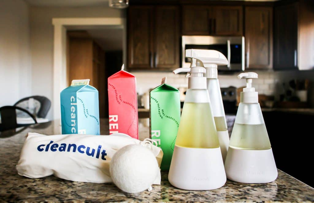 shows a variety of cleancult products on a granite counter