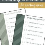 shows two checklists of daily and weekly cleaning tasks with overlay texts that say daily and weekly cleaning checklists for working moms