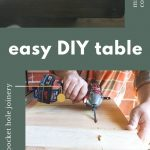 Shows a close up picture of a wood table corner and another showing a person drilling into pocket hole joinery on the bottom of table. Has text between photos that says easy diy table, download free plans, pocket hole joinery, and mitered corners