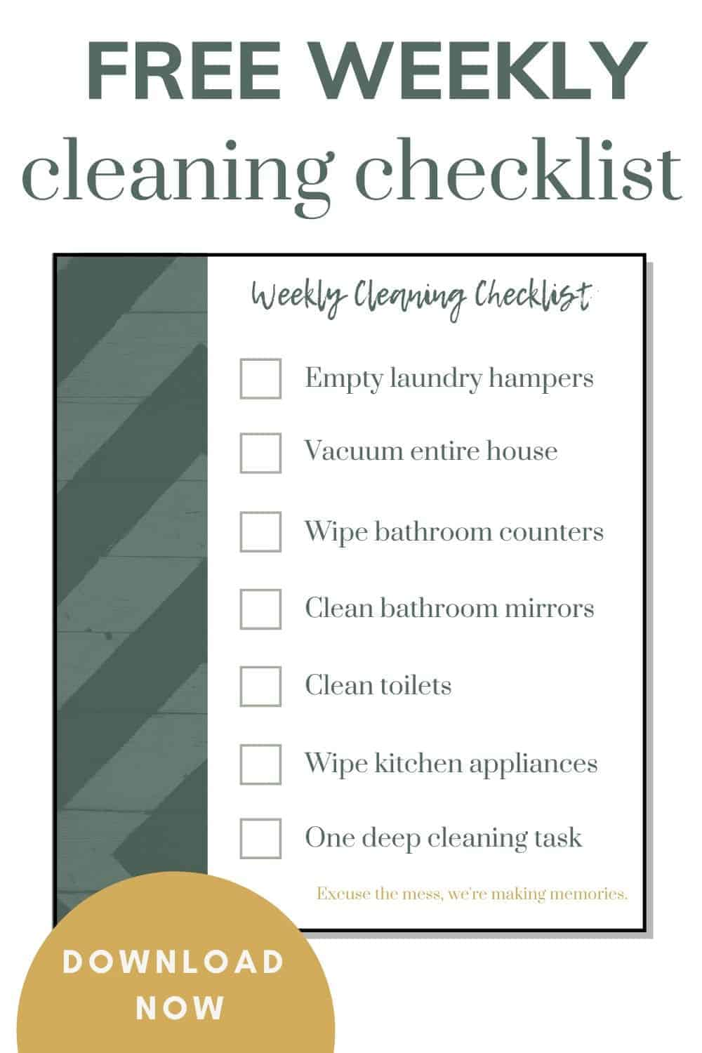 shows a weekly cleaning checklist with overlay text that says free weekly cleaning checklist and a download now button