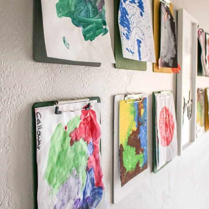 How To Make a Kid's Art Gallery Wall With Clipboards
