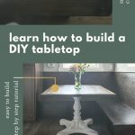 shows two pictures of a wood table top with a white stand, one full picture and one close up. Has text surrounding the pictures that says, learn how to build a DIY tabletop, download free plans, easy to build step by step tutorial