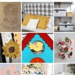 shows 9 different cardboard DIY projects with text at top that says 11 cardboard crafts for adults