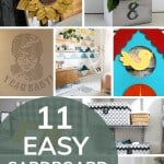 shows 9 different cardboard projects with overlay text that says 11 easy cardboard projects