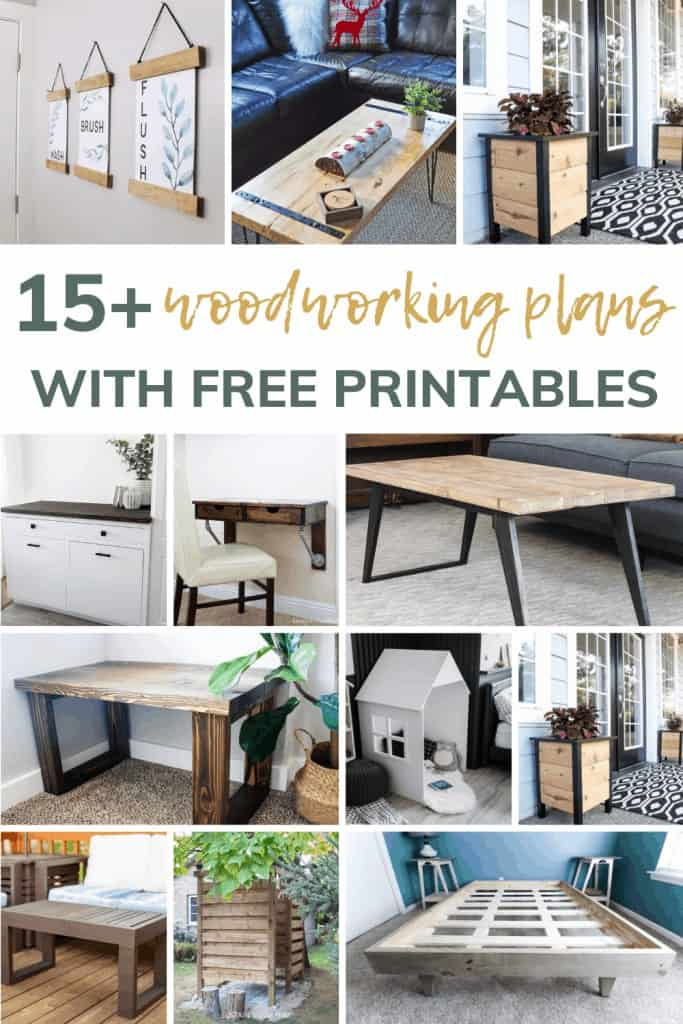 Shows 9 simple woodworking projects like a bedframe, planters, stools, tables, and hanging home decor. With overlay text that says 15+ woodworking plans with free printables