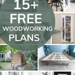Shows a variety of 8 woodworking projects with overlay text that says 15+ free woodworking plans