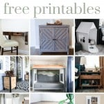 Shows 9 woodworking projects like tables, planters, and shelves with text at top that says woodworking plans, free printables