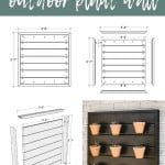 shows woodwoorking plans and measurements of the wood wall with various angles and measurements with an after picture of the vertical garden pots with text at top that says free woodworking plans outdoor plant wall