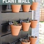 shows a side view of 9 vertical garden pots with succulents hanging on a black wood outdoor plant wall mounted on the side of a gray brick house with overlay texts that says how to build a plant wall