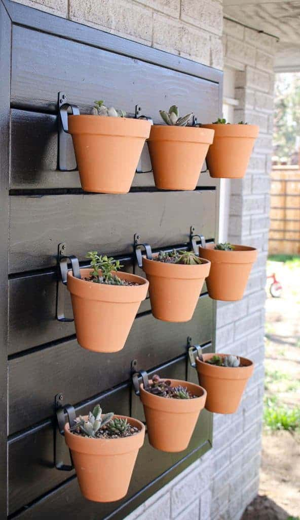 shows a side view of 9 terracotta pots with succulents hanging from a black wood wall that is mounted on the side of a gray brick wall