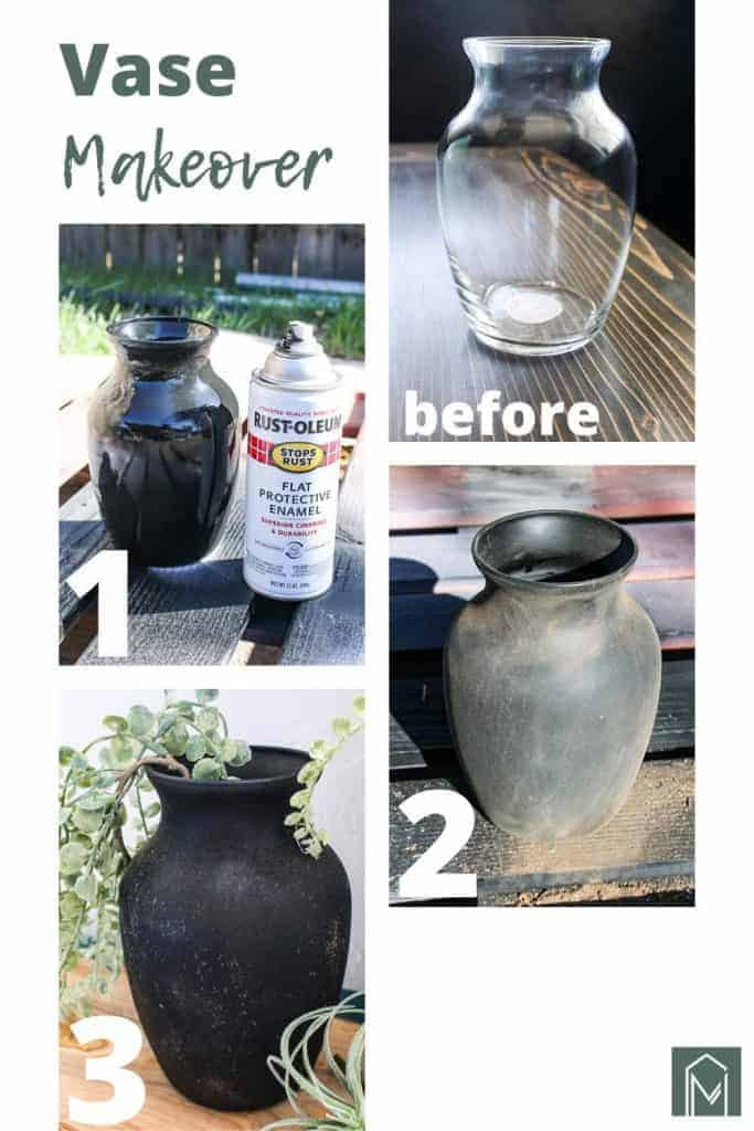 shows a before and after picture and in process pictures of a glass vase that gets a vintage makeover with black paint and dirt. Has overlay text that says vase makeover, before and after