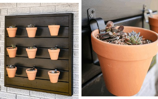 shows 9 terracotta pots hanging from a black wood wall hanging from the side of a gray brick house and the other picture is an up close shot of a terracotta pot with succulents in it hanging from the black wood wall