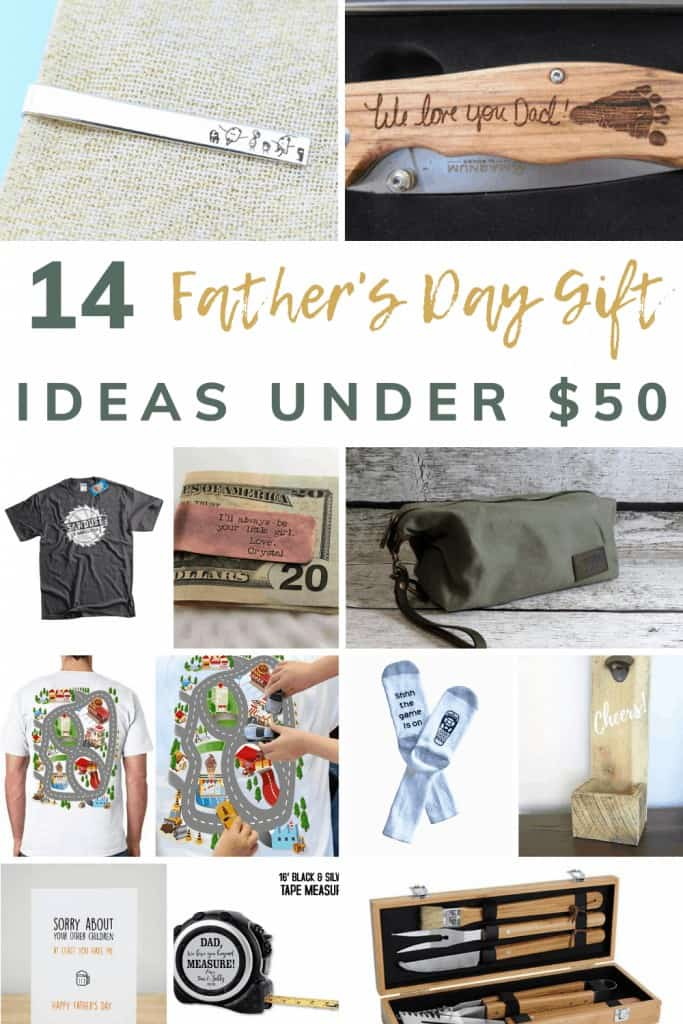 shows a variety of 12 different father's day gifts with overlay text that says 14 father's day gift ideas under