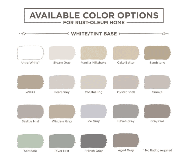 Shows Rust-Oleum HOME Floor Coating color options in the white tint base with the floor paint colors labeled