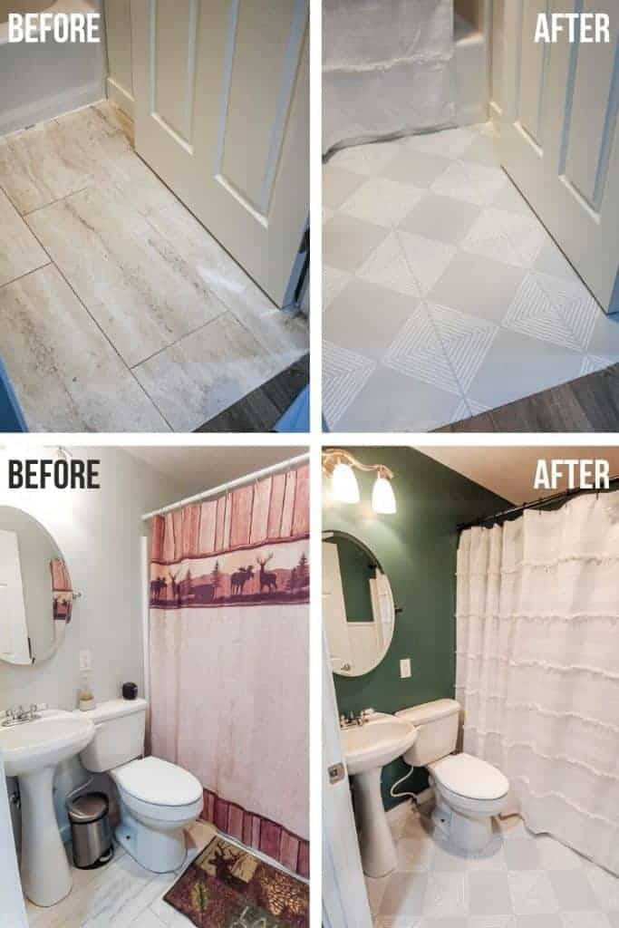 shows a before and after picture of a bathroom makeover. The before photos shows tan tile floor with white walls and outdated cabin theme shower curtain and rug. The after picture shows gray floors with white stripes, dark green walls, and white boho shower curtain