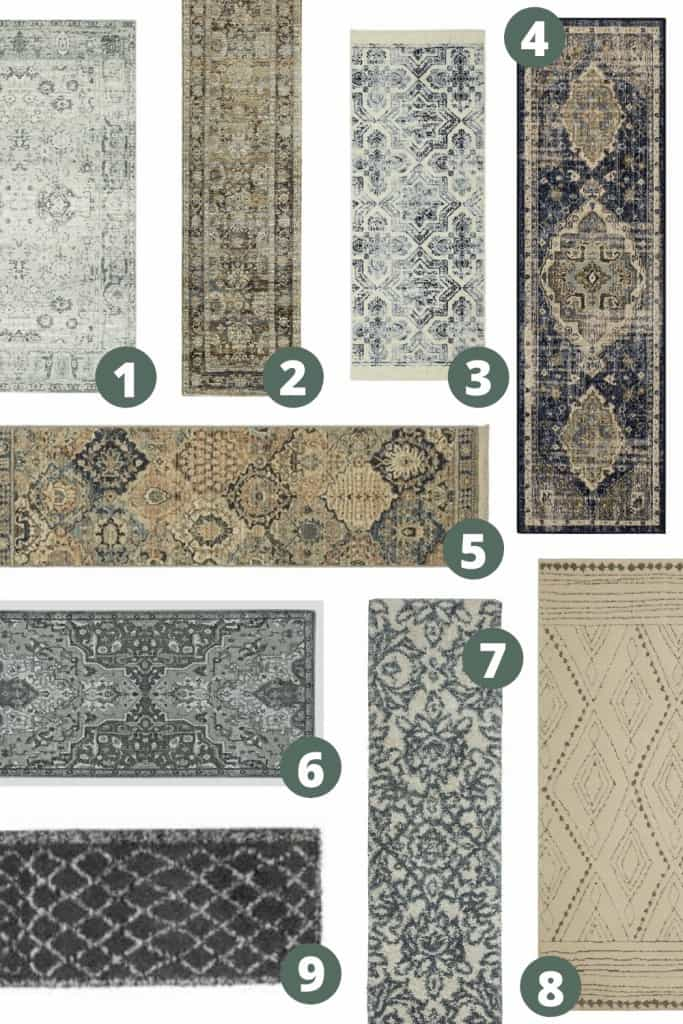 shows a variety of 8 different boho runner rugs