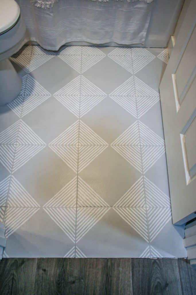 shows the downward photo of gray floor with white stripes