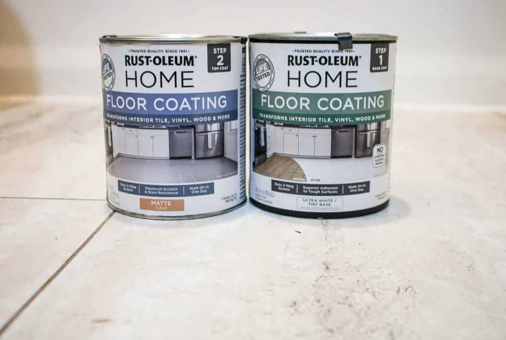 shows a square picture of two Rust-Oleum Home Floor Coating cans on tan tile floors