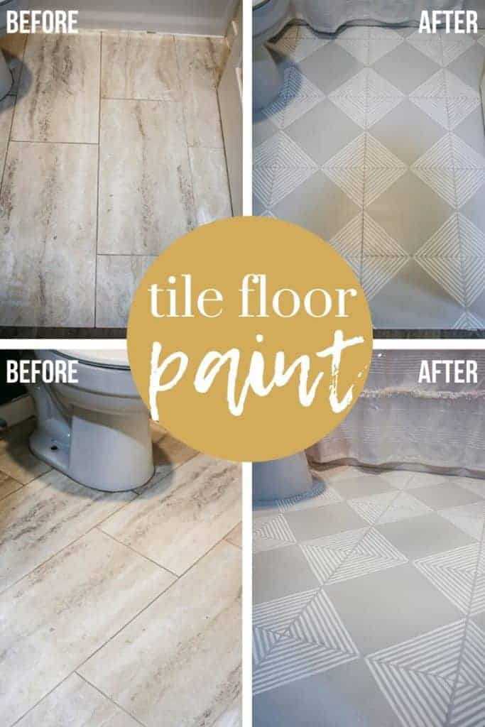 shows before and after photos of tan tiled floors in a bathroom and how they were painted gray with white stripes stenciled with overlay text that says tile floor paint
